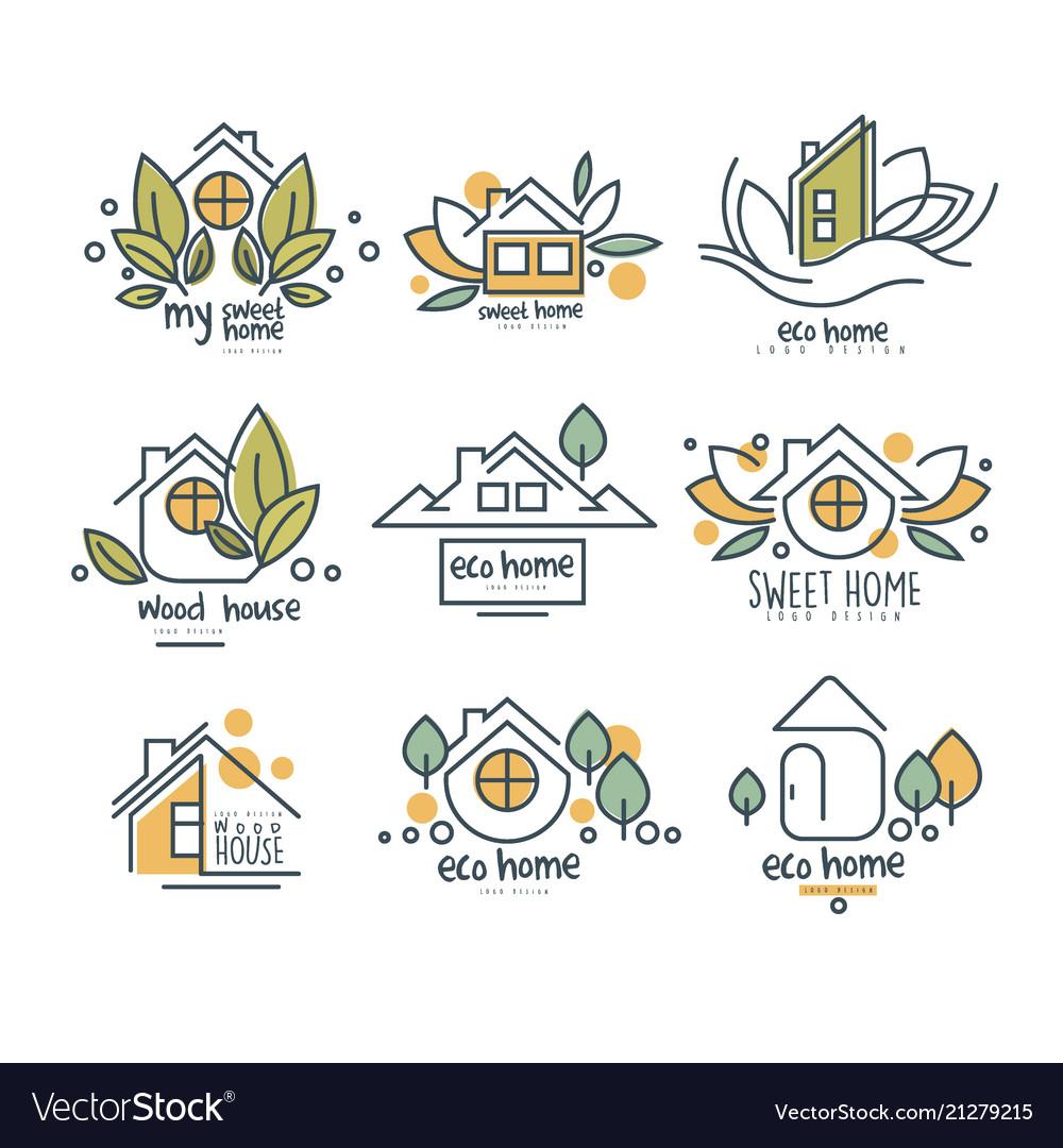 Sweet eco home logo set wood house badges
