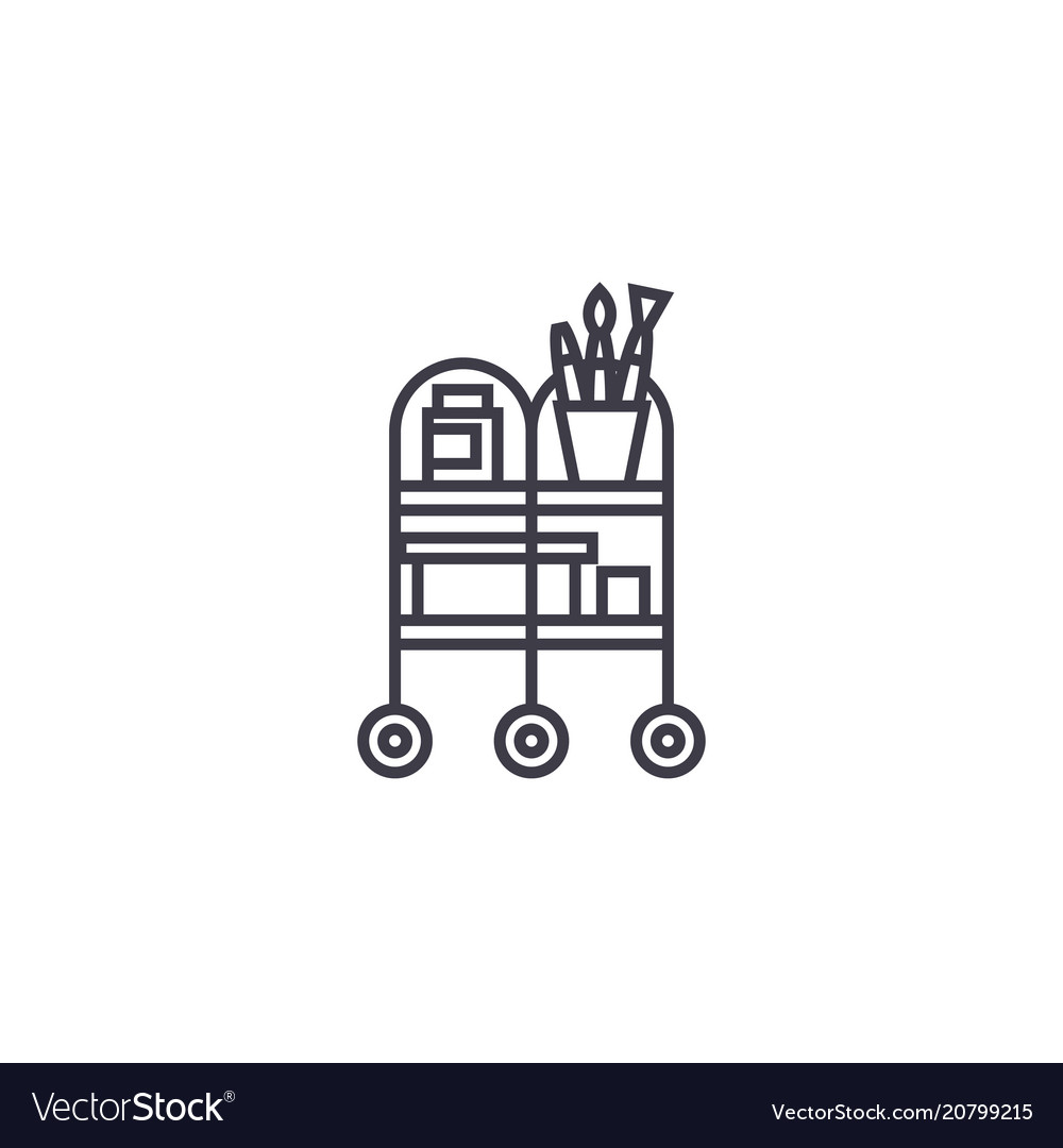 Waiter trolley line icon sign