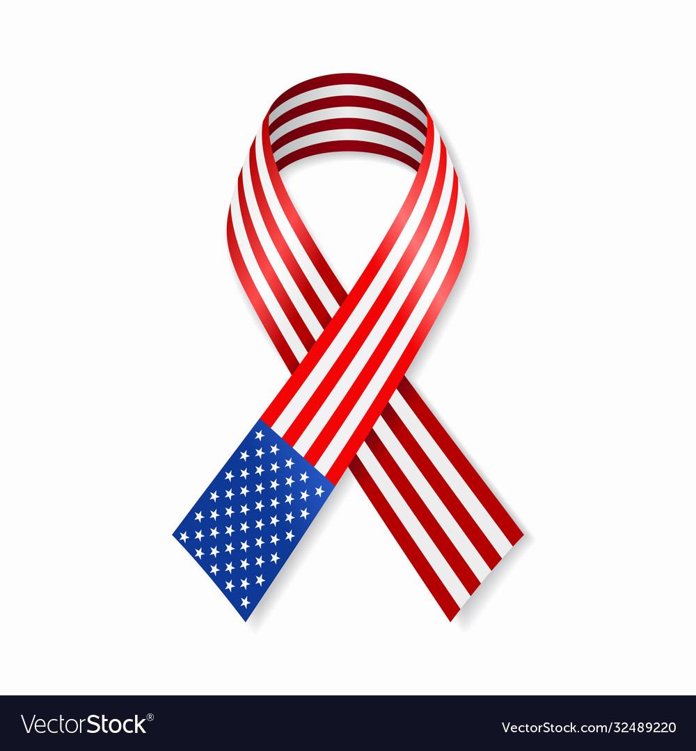 American flag stripe ribbon on white background