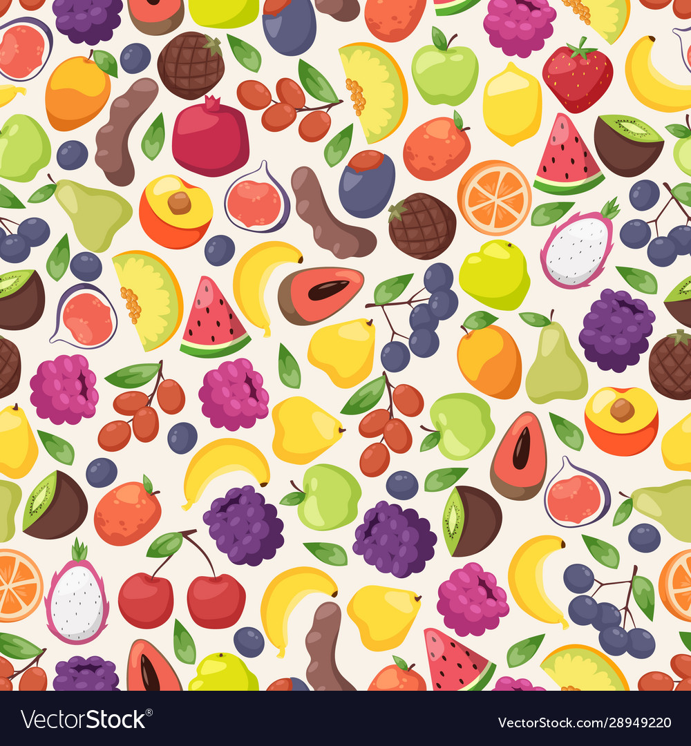 Colorful fruits in seamless pattern