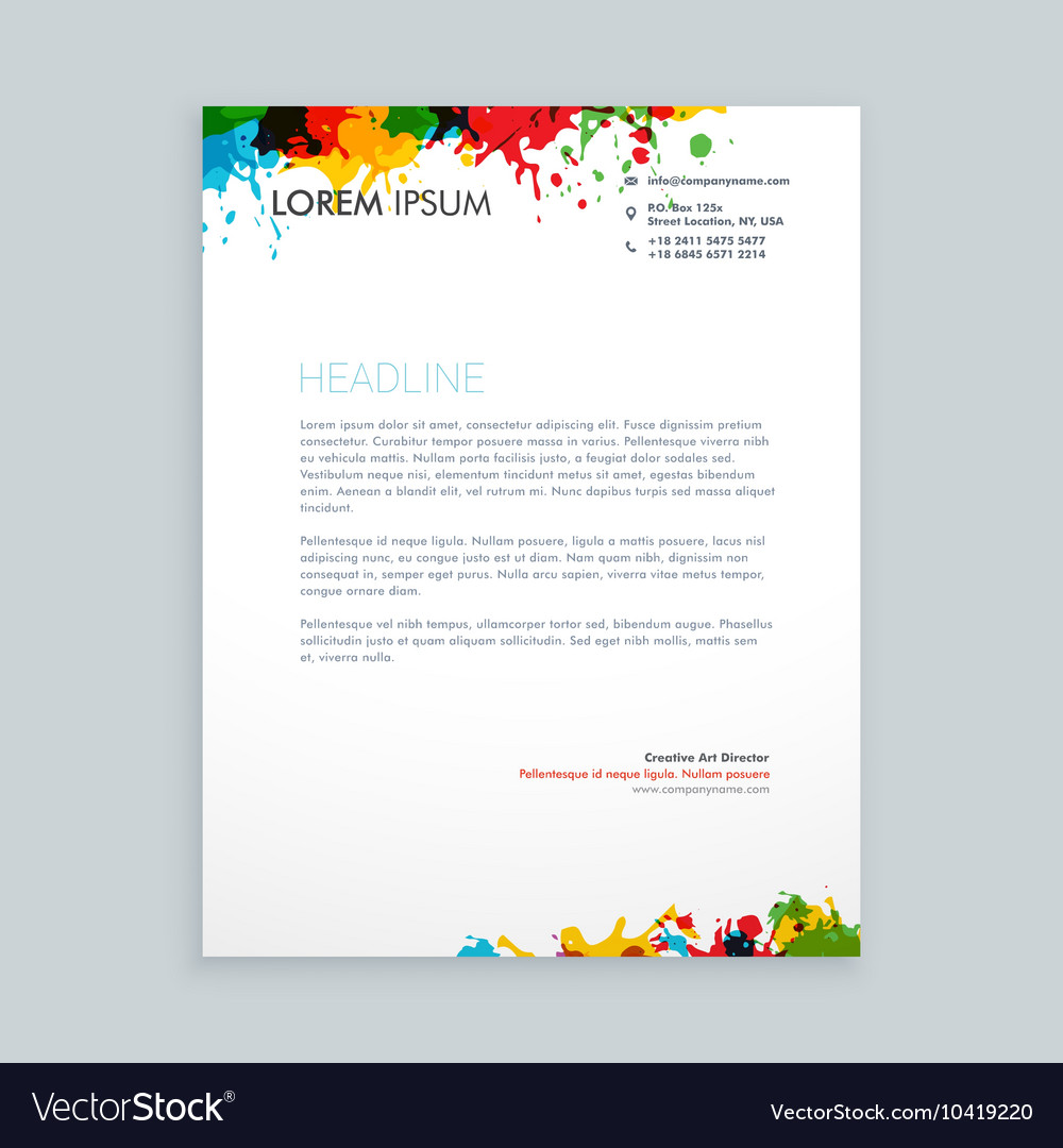 Colorful ink splash letterhead royalty free vector image colorful ink splash letterhead vector image spiritdancerdesigns Gallery