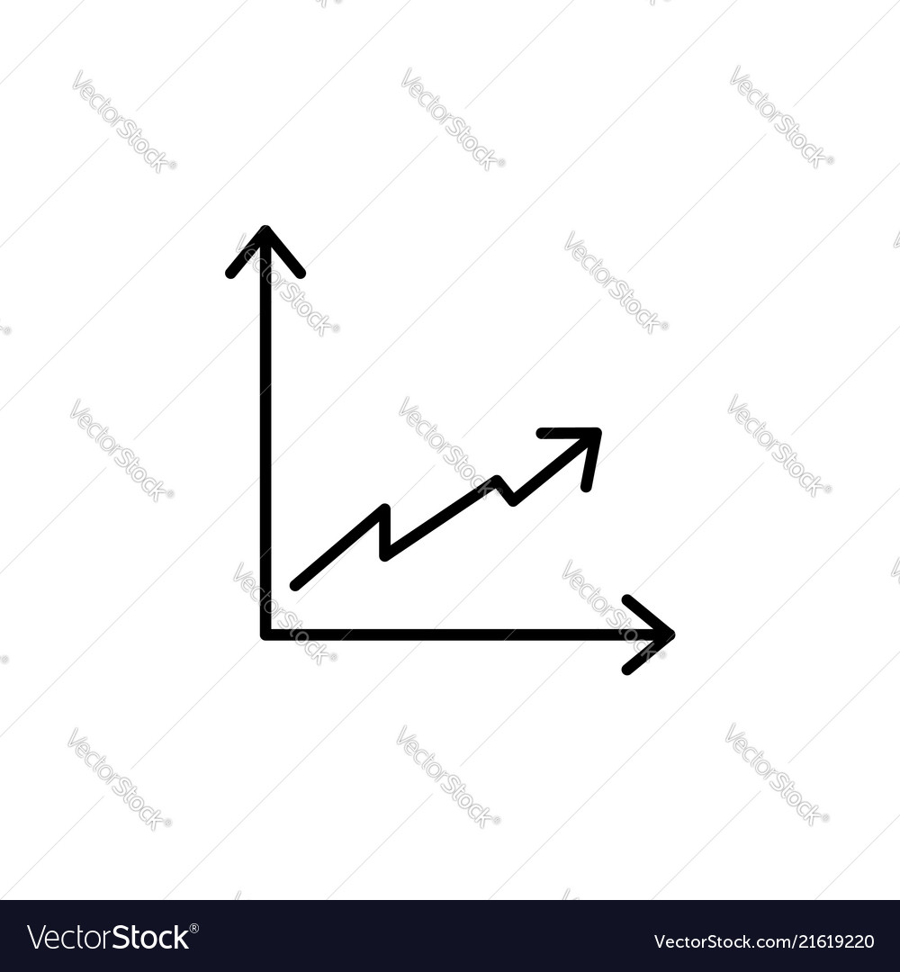 Flat line icon of graph