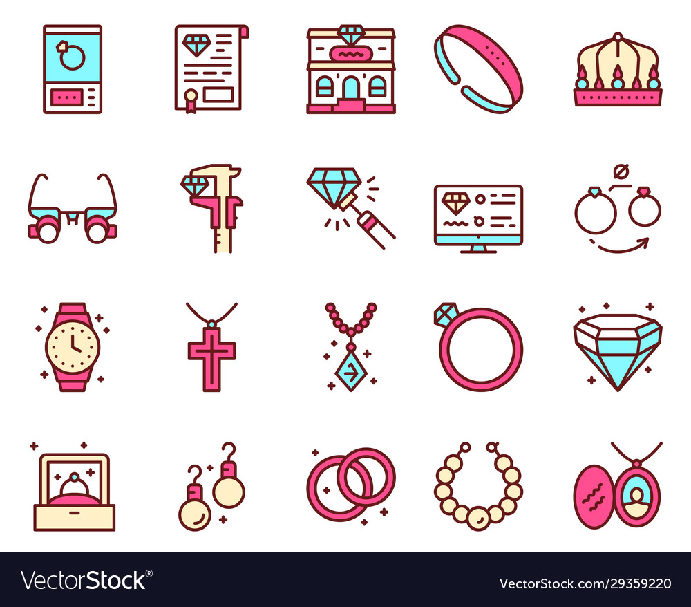 Jewelry color linear icons set