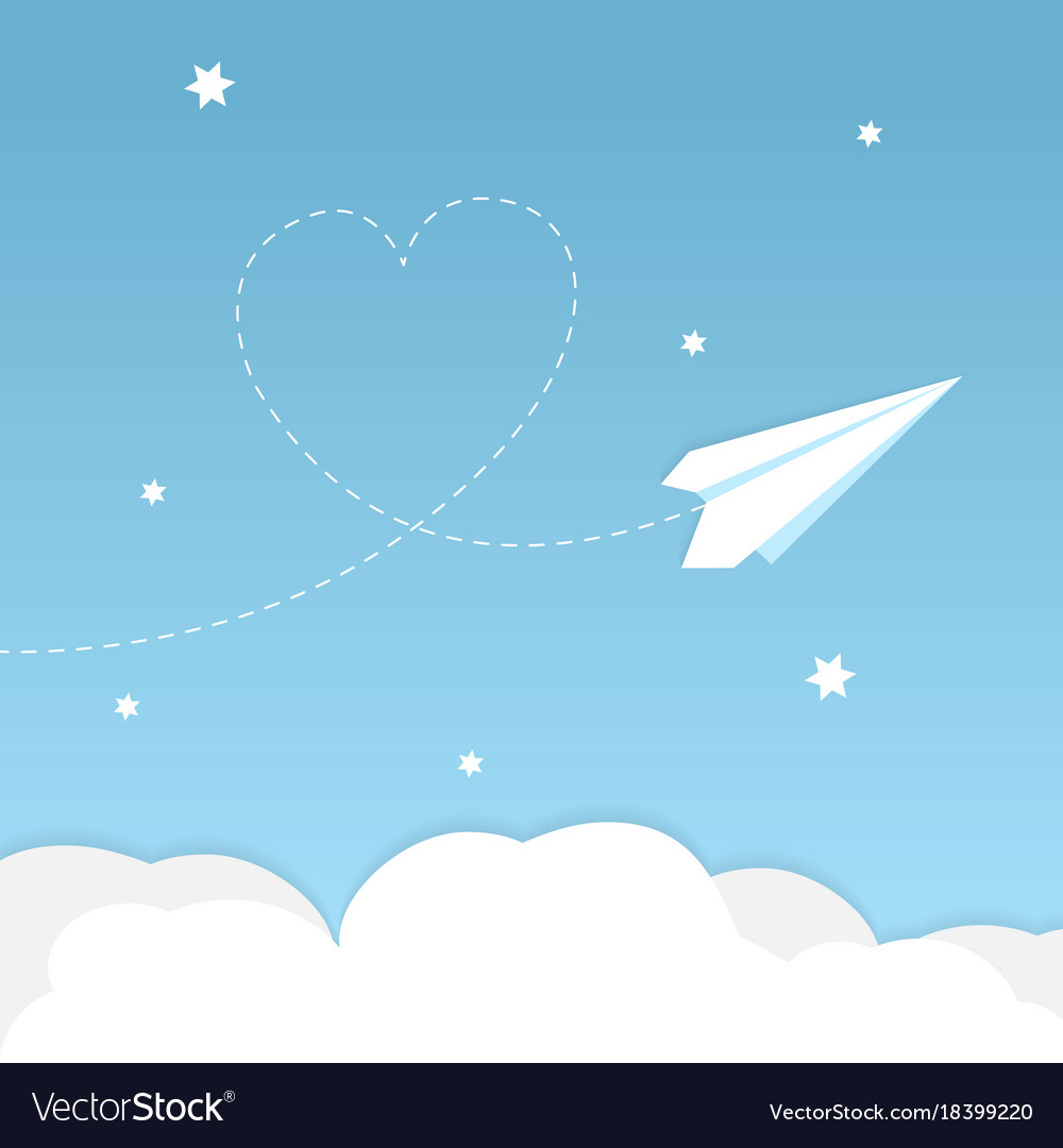 Paper airplane background with heart