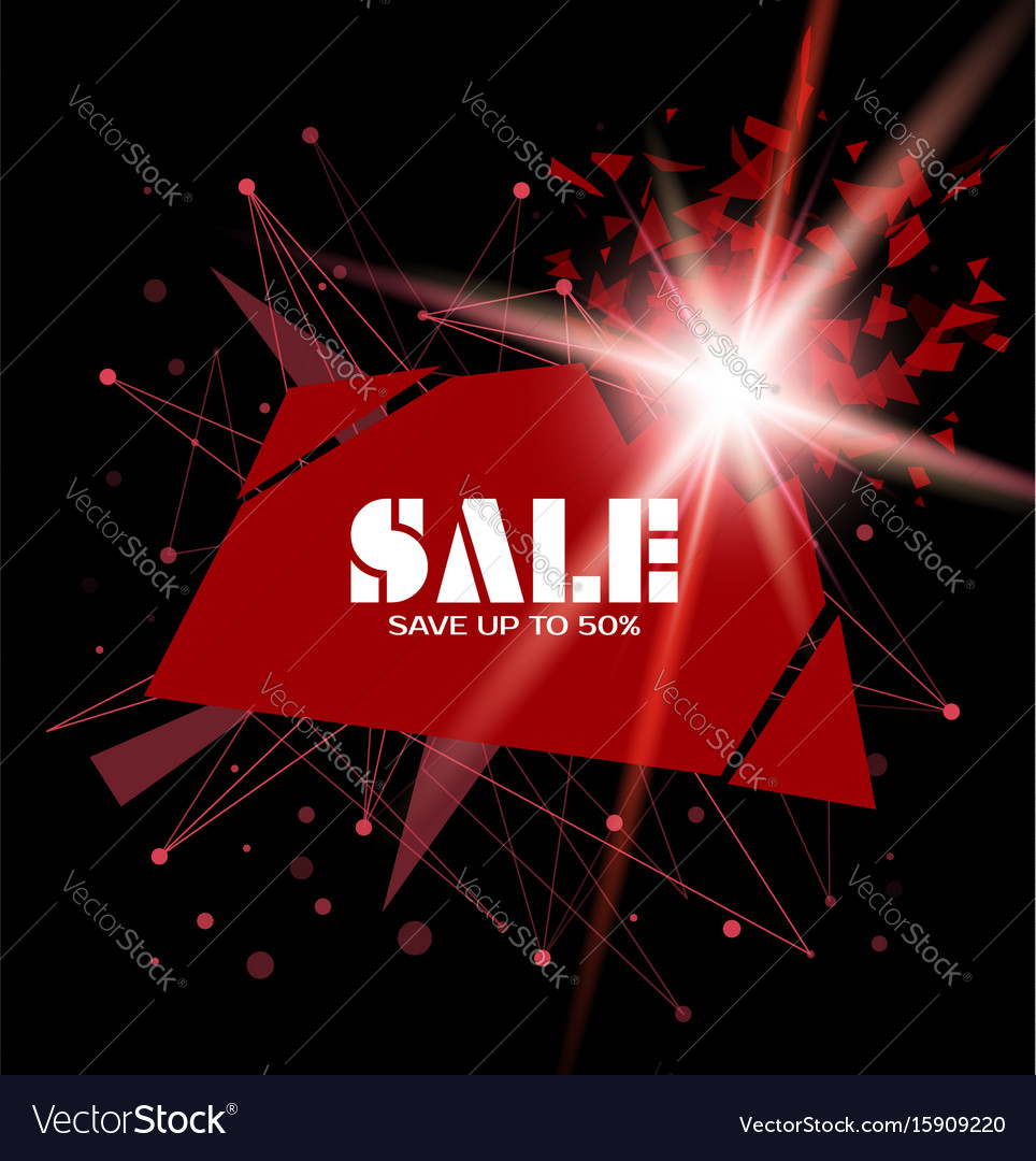 Sale template banner with explosion Royalty Free Vector