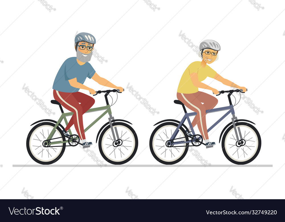Senior people cycling - flat design style