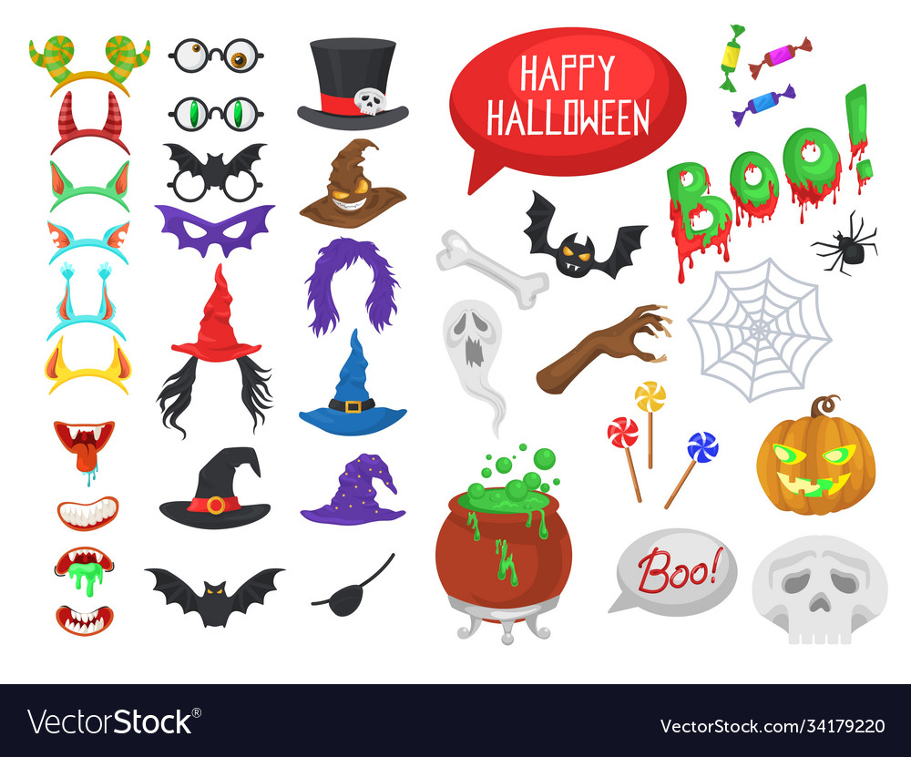 Set halloween party photo booth props