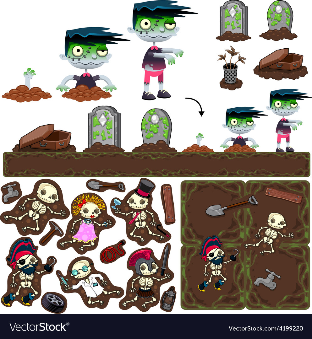 Set of game elements with zombie character