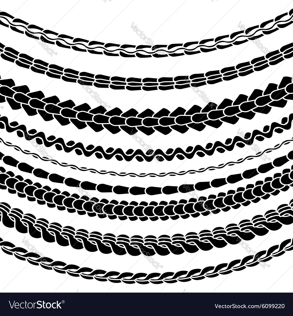 Set of Variety Chain Silhouettes vector image