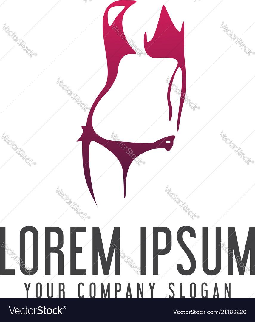 underwear woman logo design concept template vector image