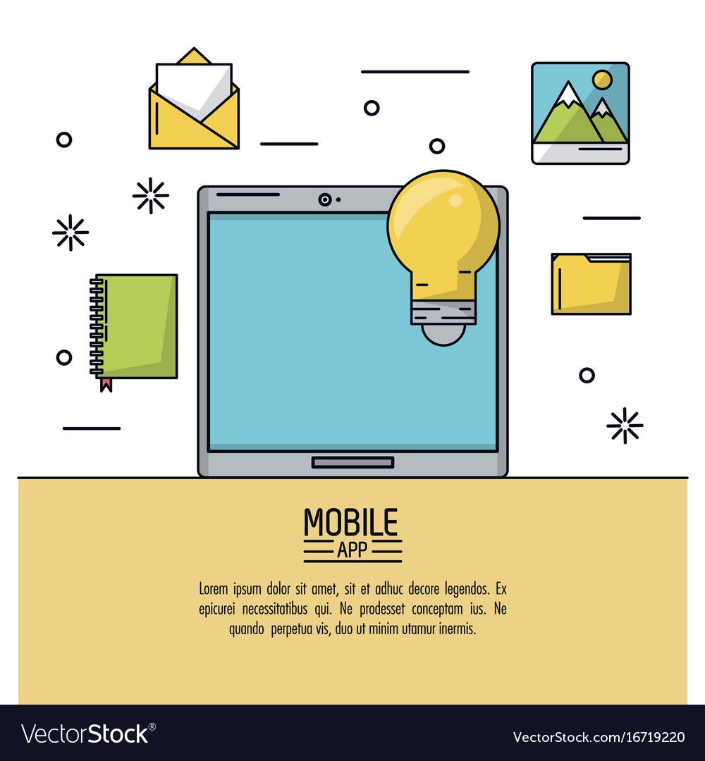 White background poster of mobile app with tablet