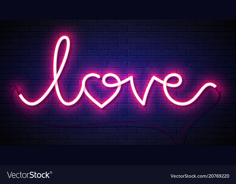 Word love neon sign on brick wall background