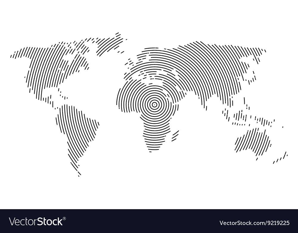 3d abstract world map planet lines global radial
