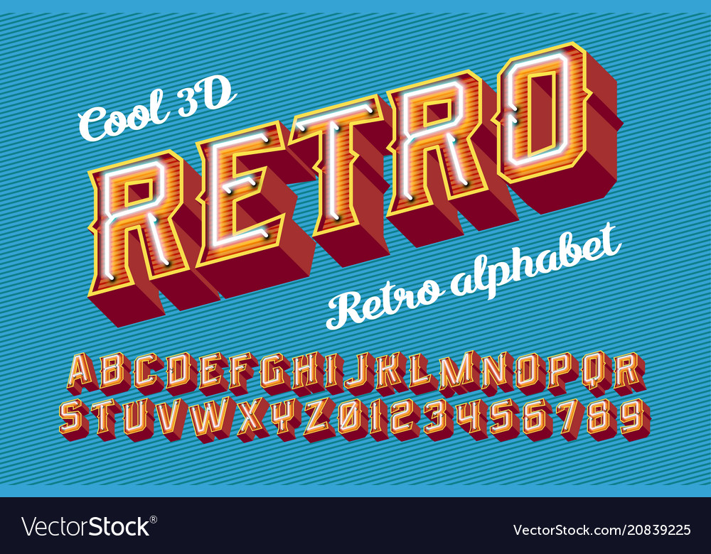 3d vintage letters with neon lights