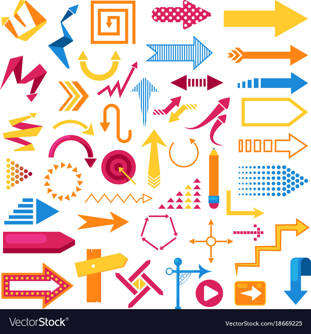 Arrow infographic symbol abstract icons set