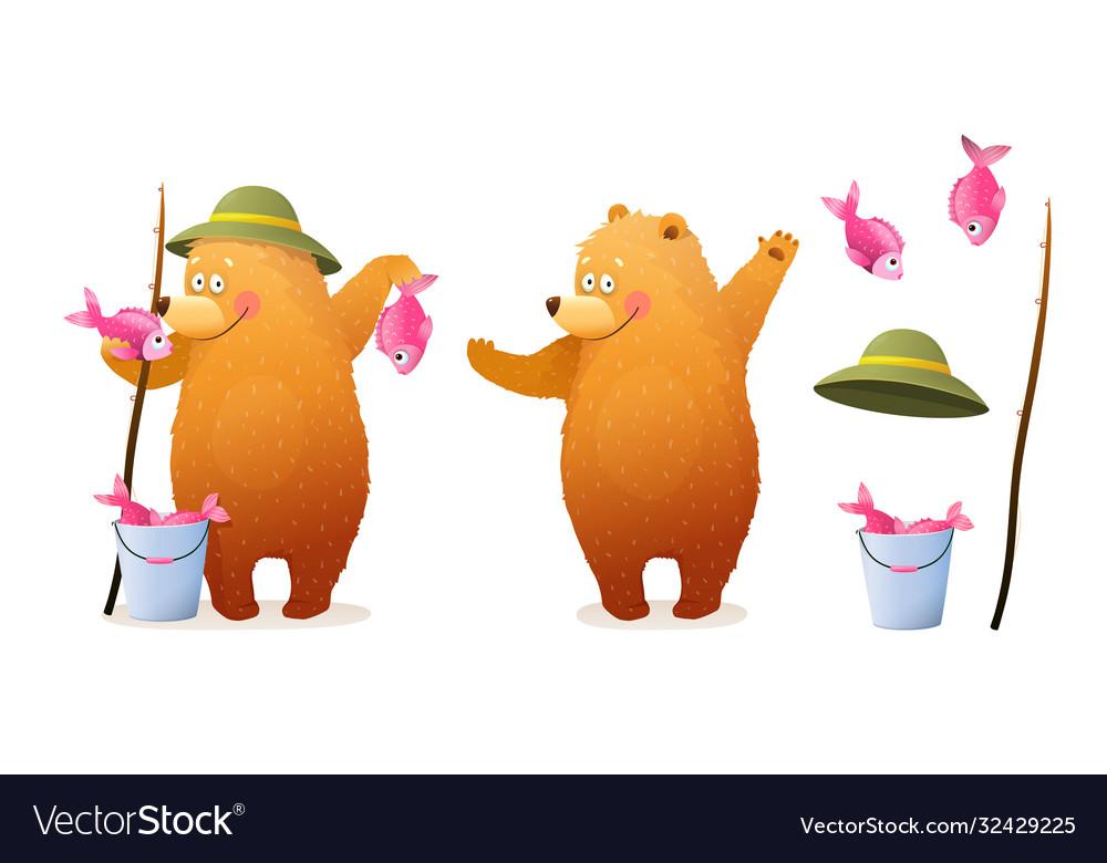 Bear cub fisherman character with fish cartoon