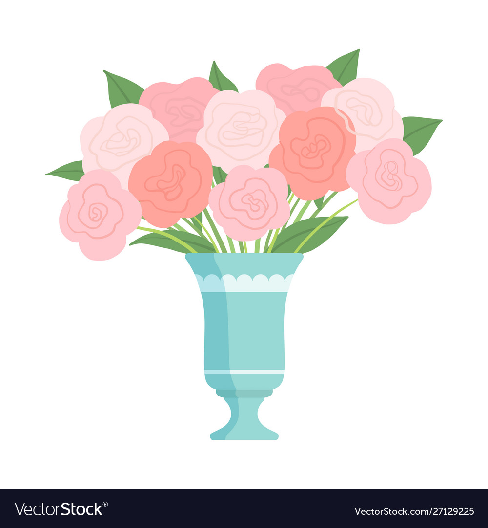 Beautiful Pink Flowers In Vase Bouquet Of Vector Image