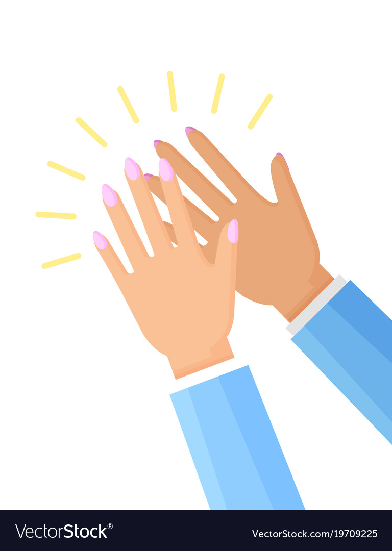 clapping hands of woman poster royalty free vector image