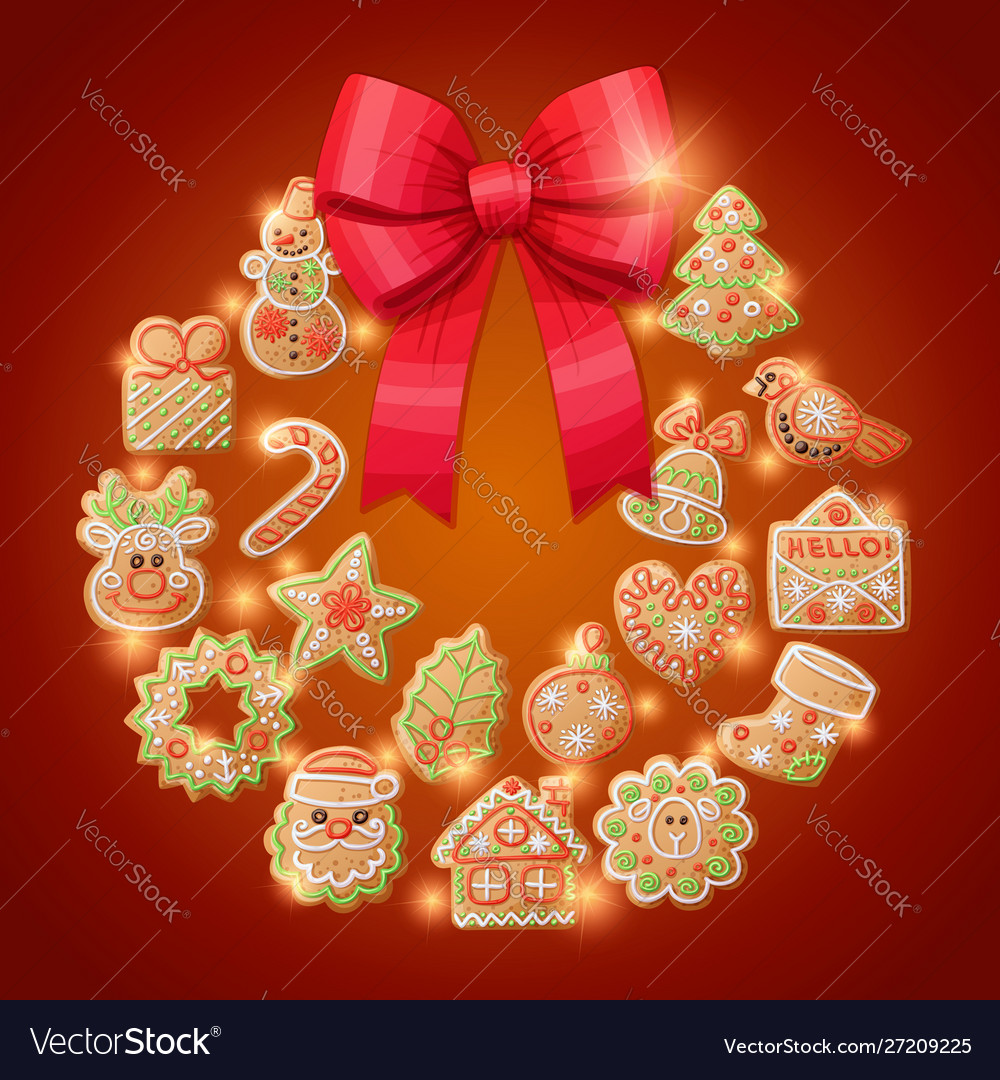 Ginger cookies christmas wreath decorative