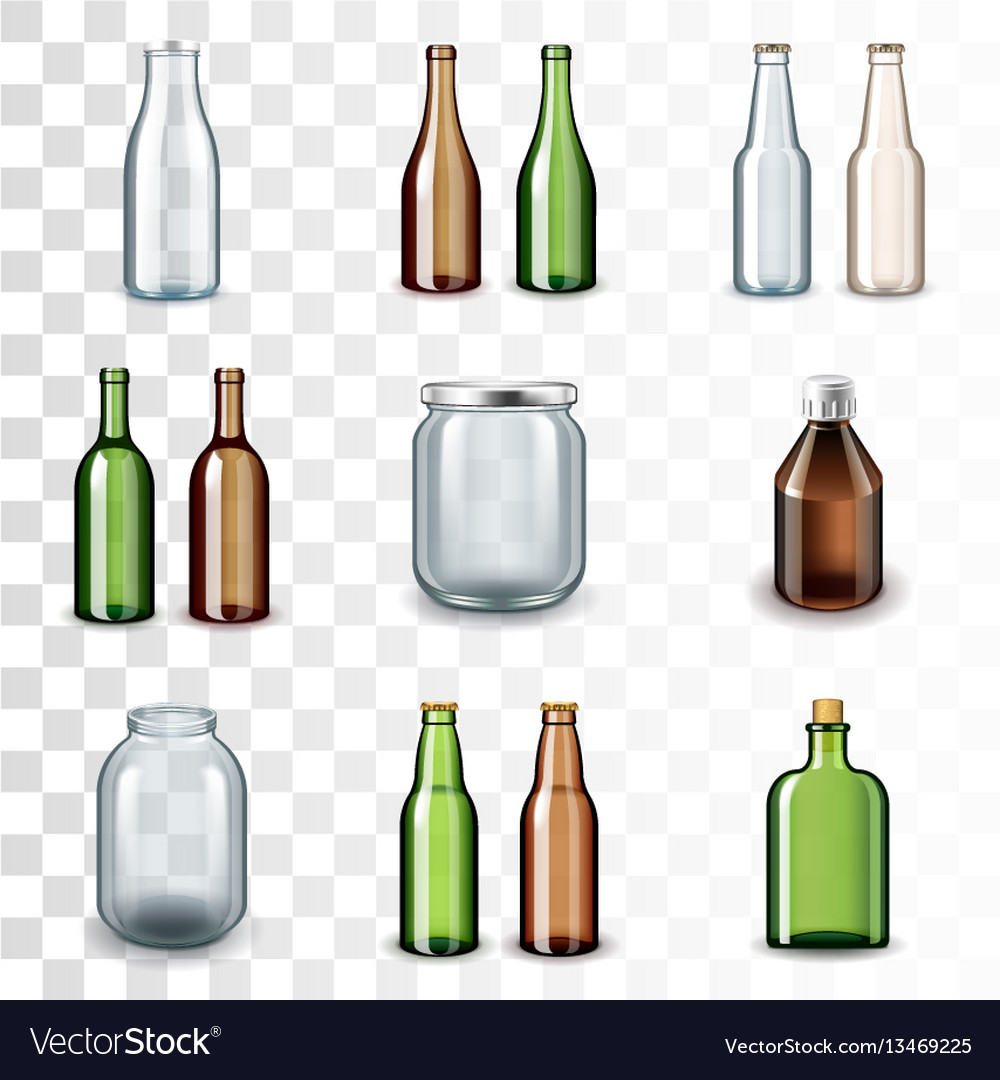 Glass bottles icons set