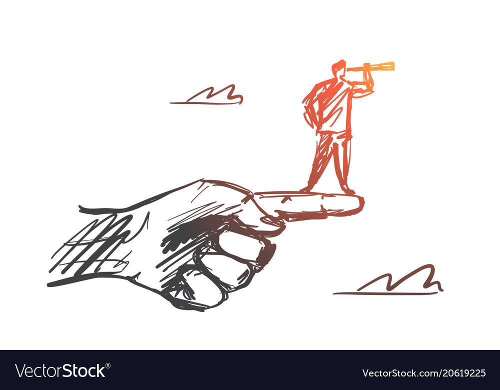 Hand drawn man standing on finger with spyglass