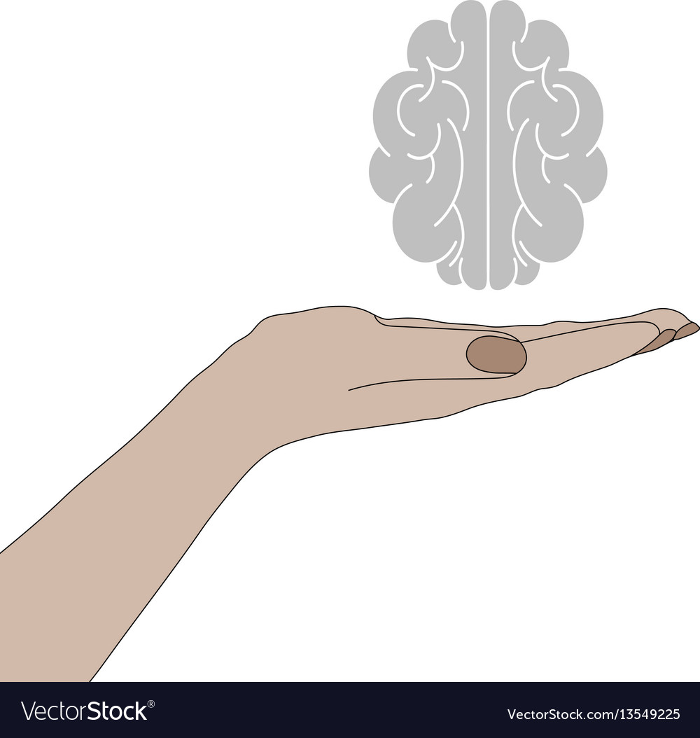 Human hand holding a brain