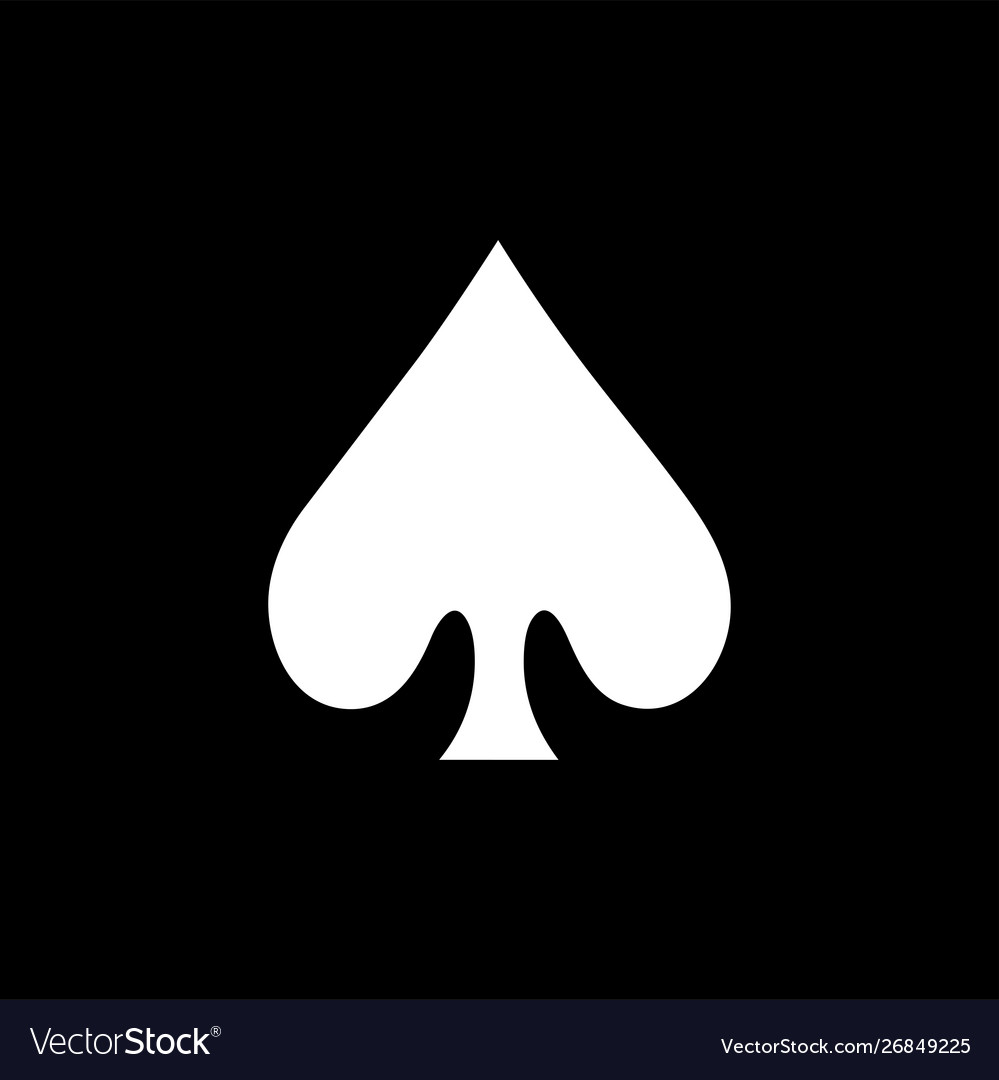 black card spade  Playing card spade icon on black background black