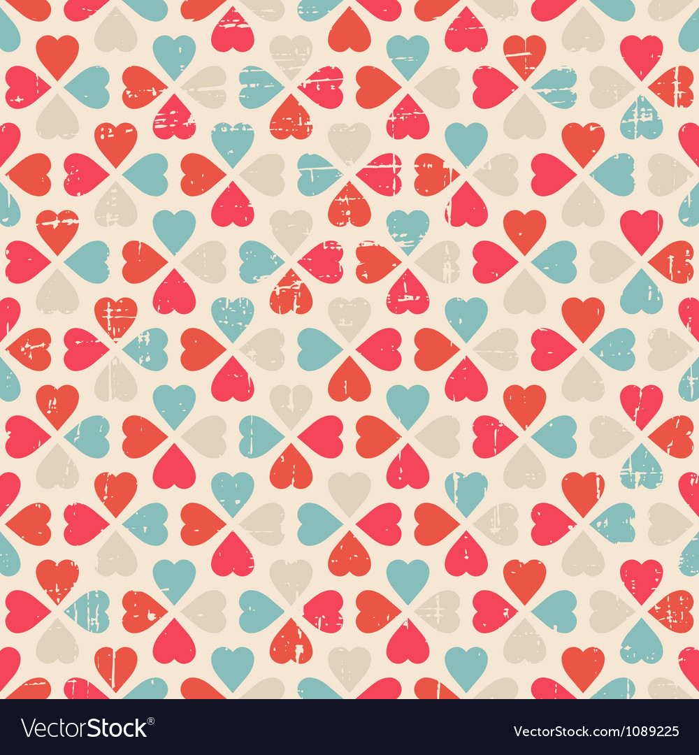Seamless pattern of Valentines Day in retro style vector image