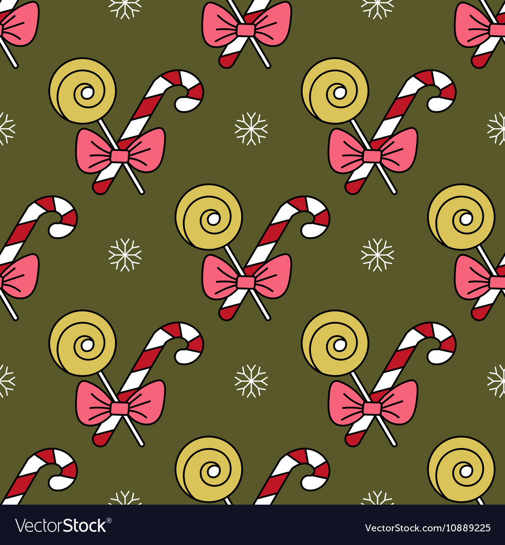 Seamless pattern with Christmas candy canes vector image
