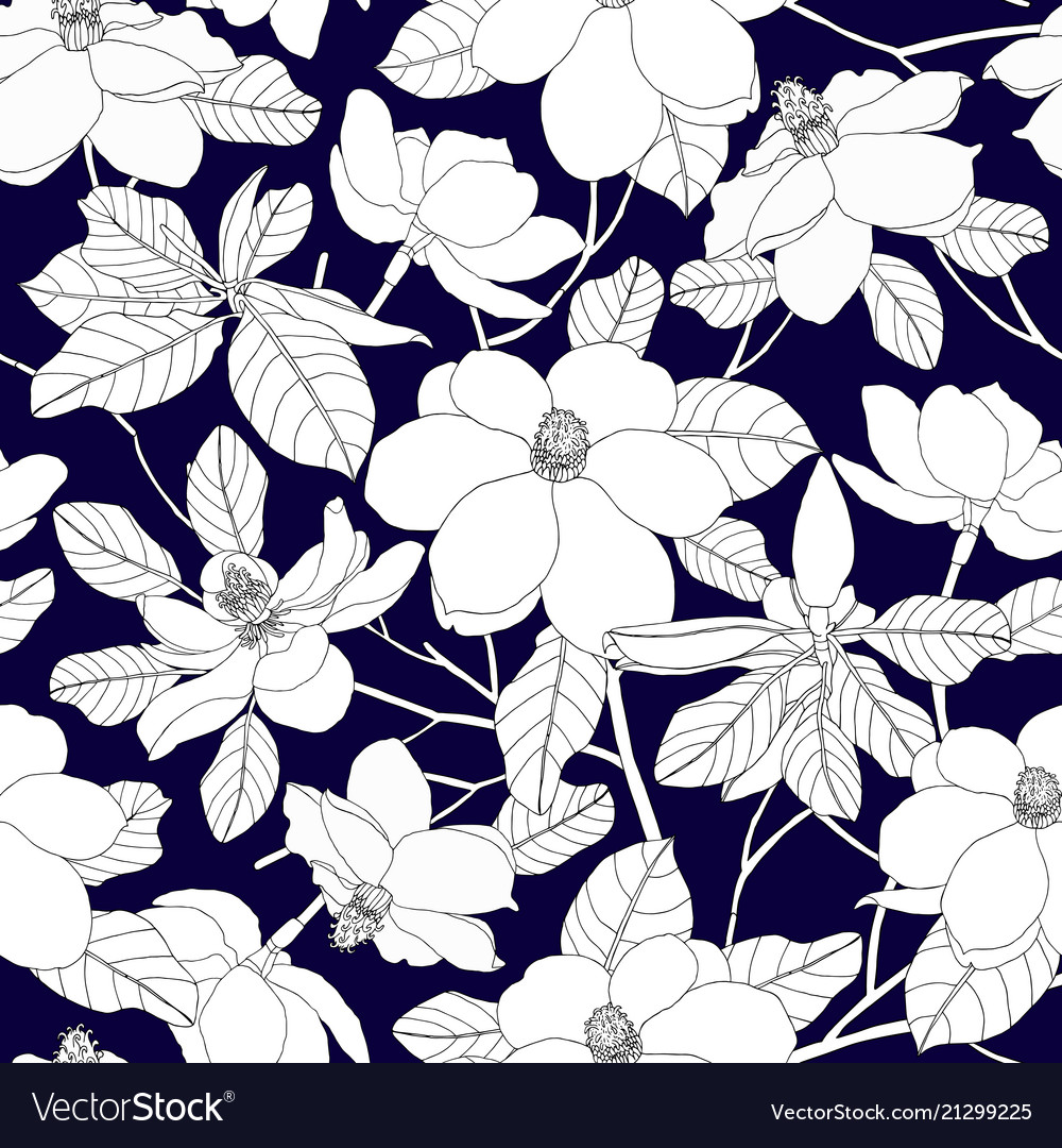 Seamless pattern with magnolia flowers and leaves