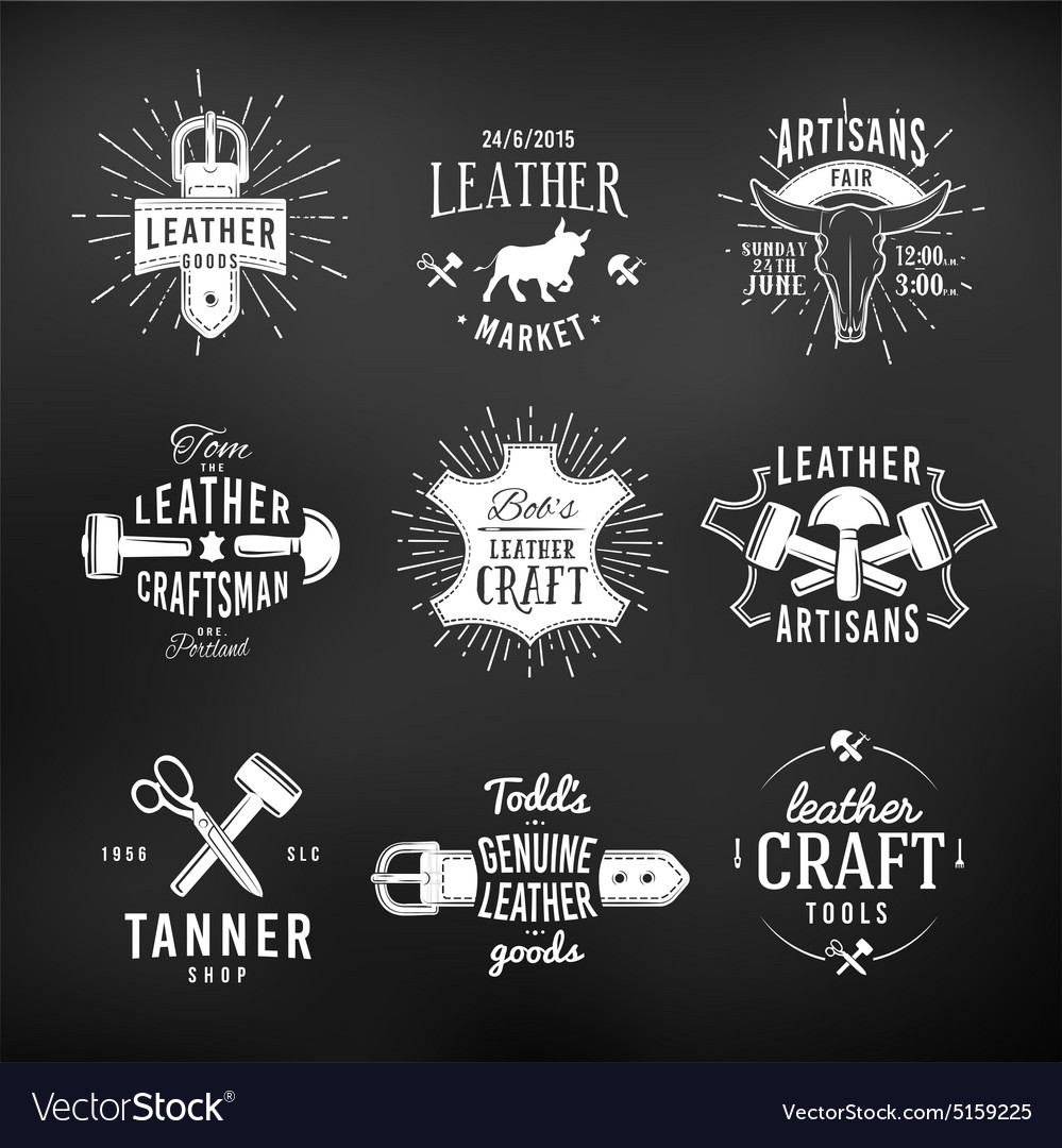 set of leather craft logo designs retro genuine vector image vectorstock