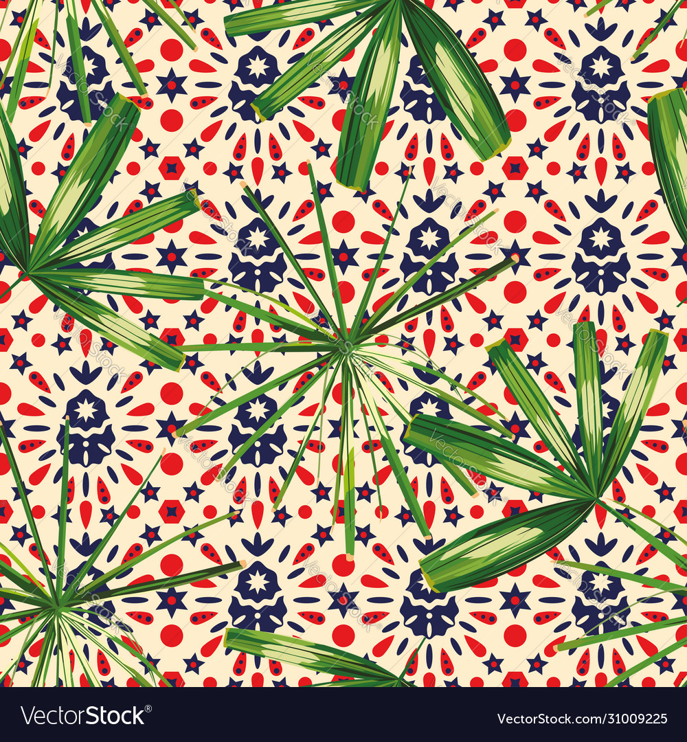 Tropical leaves seamless pattern abstract