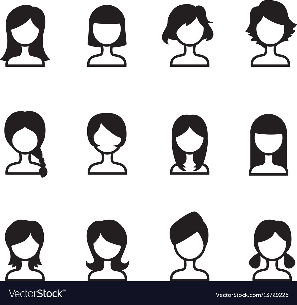 Woman hair style icons symbol i set