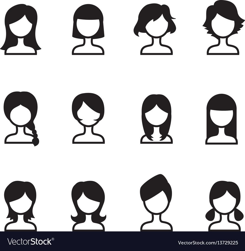 Woman hair style icons symbol i set vector image