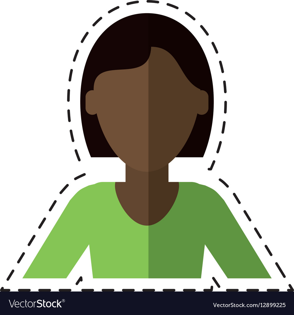 Woman short hair ethnicity cutting line vector image