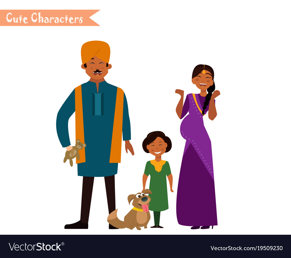 big happy indian family royalty free vector image rh vectorstock com family vector art family vector icon
