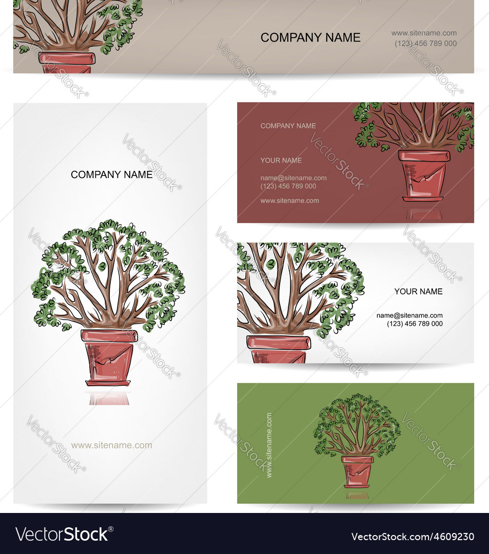 Business cards design green tree in pot