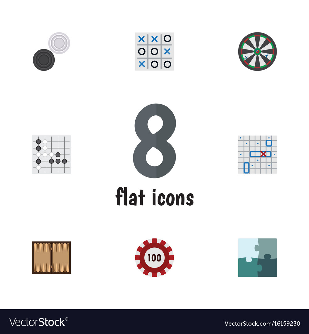 Flat icon play set of arrow xo poker and other
