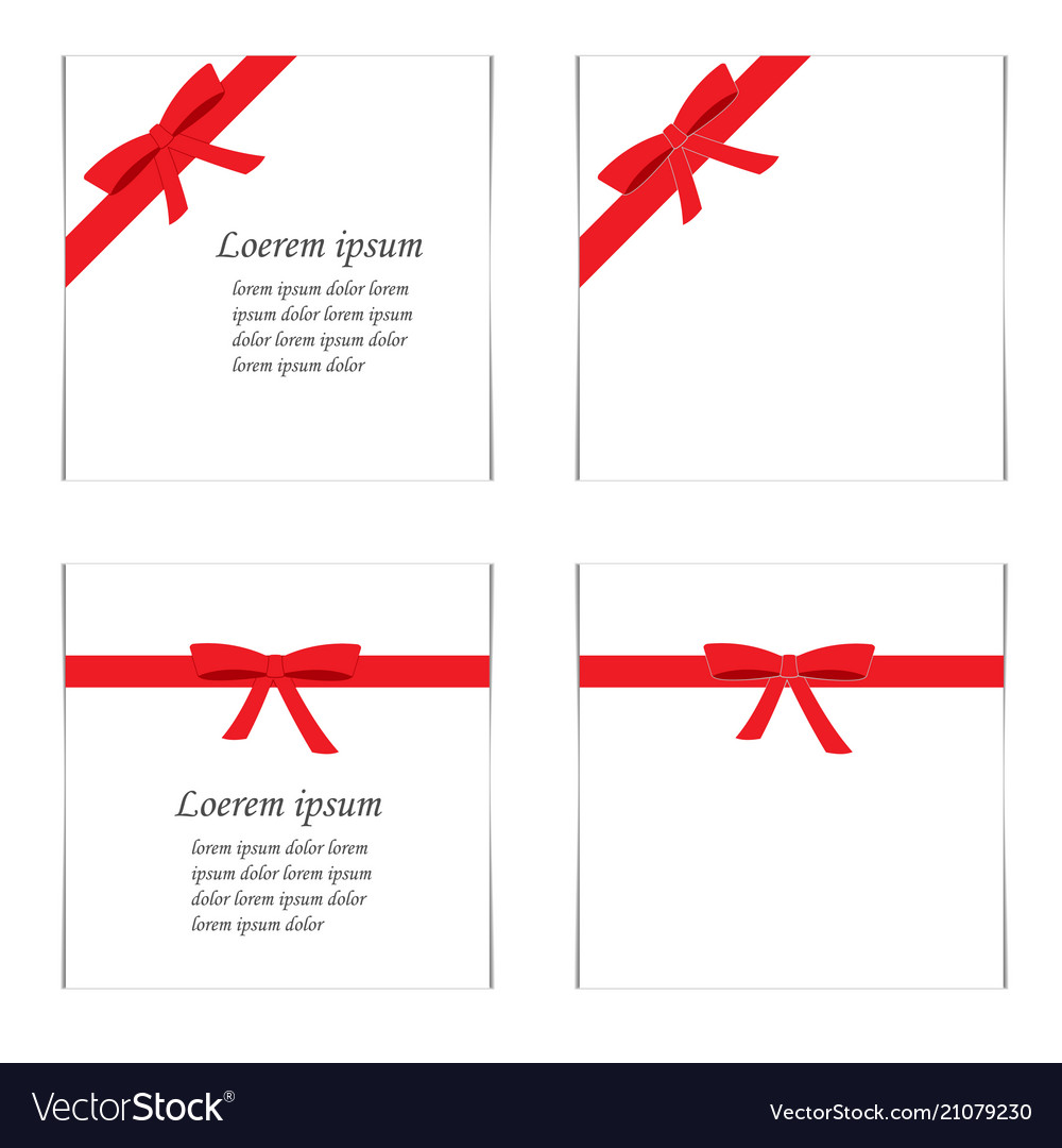 Flat set of cards with red gift bows with ribbons
