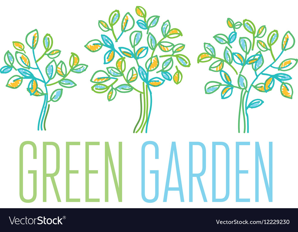 Green tree design element in hand drawn relaxed