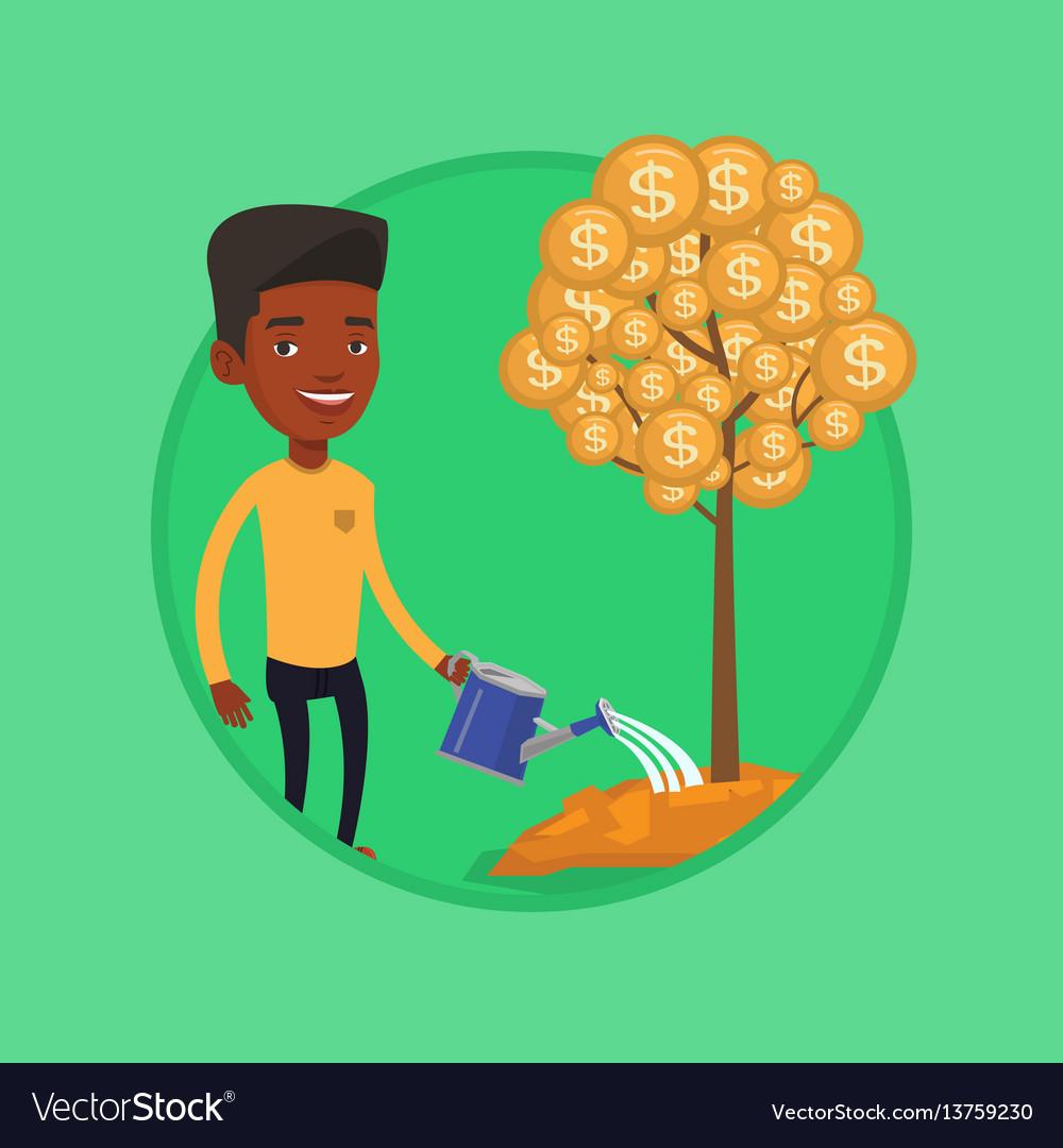 Man watering financial tree