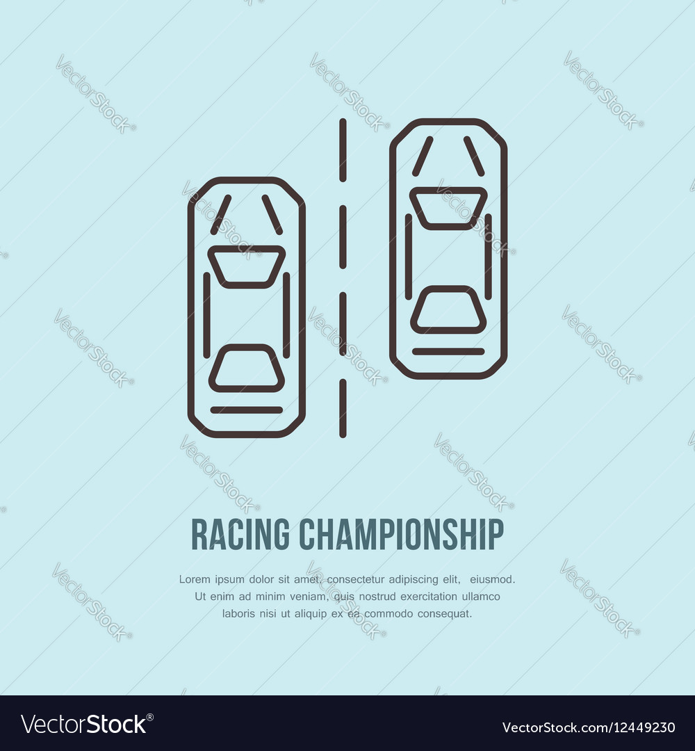 Racing sport car line icon Speed