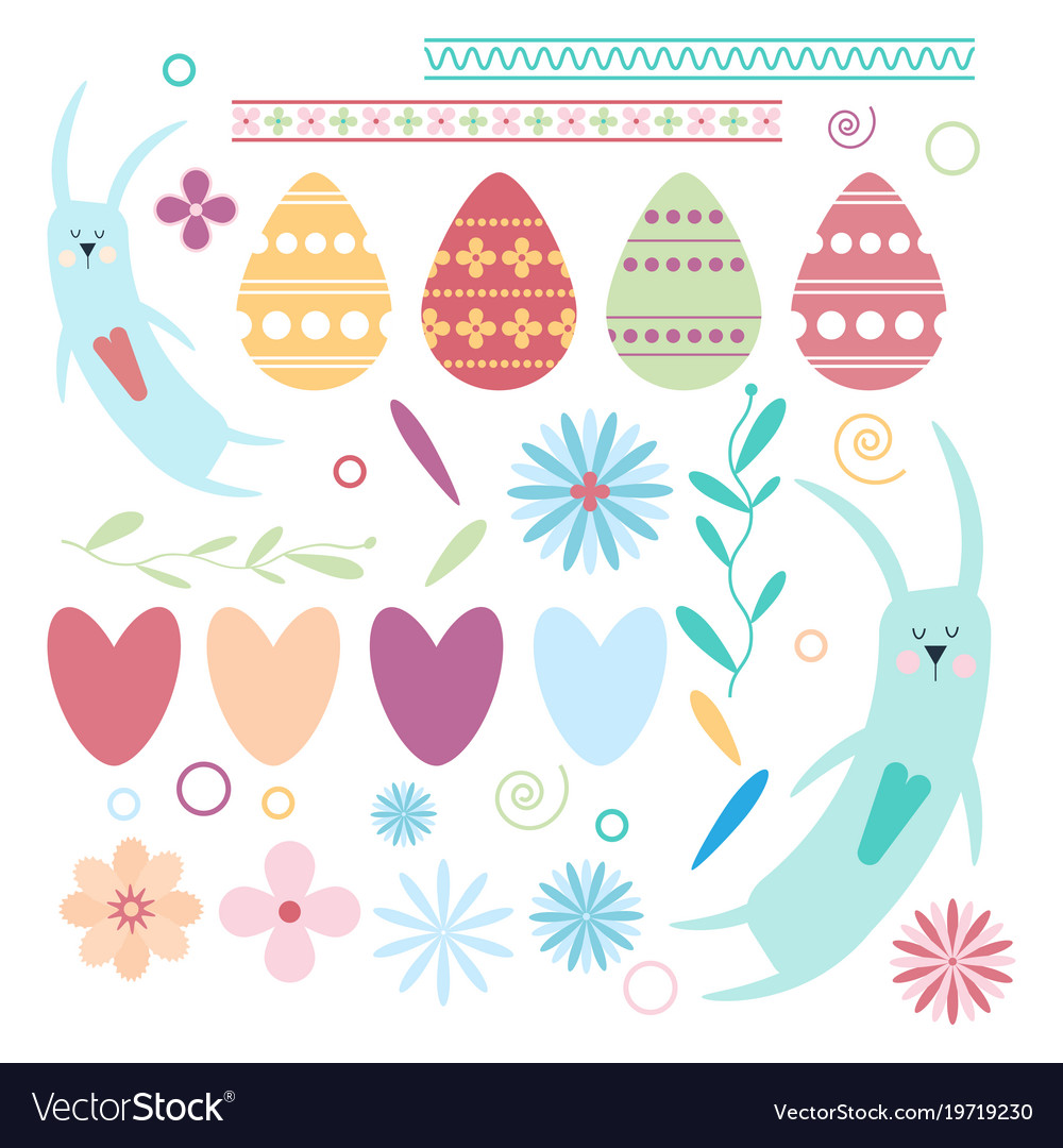 Set of easter elements rabbits hearts eggs