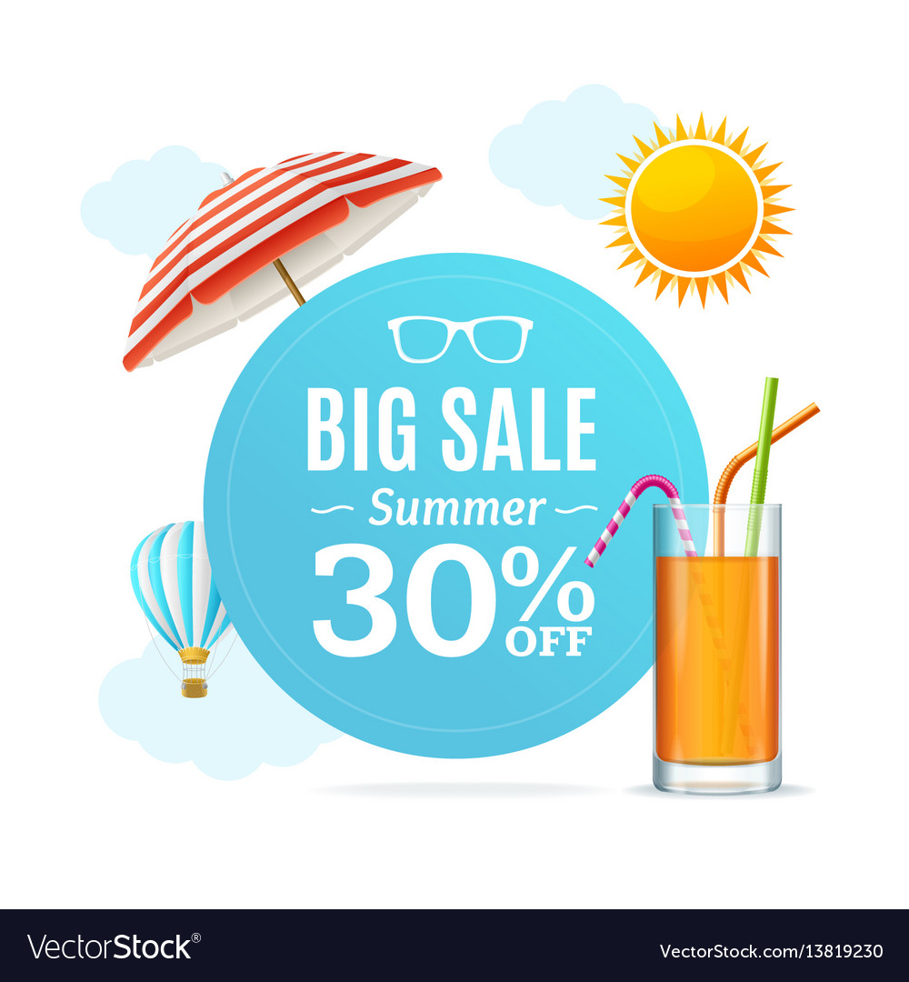 Summer sale concept labels or tags vector image