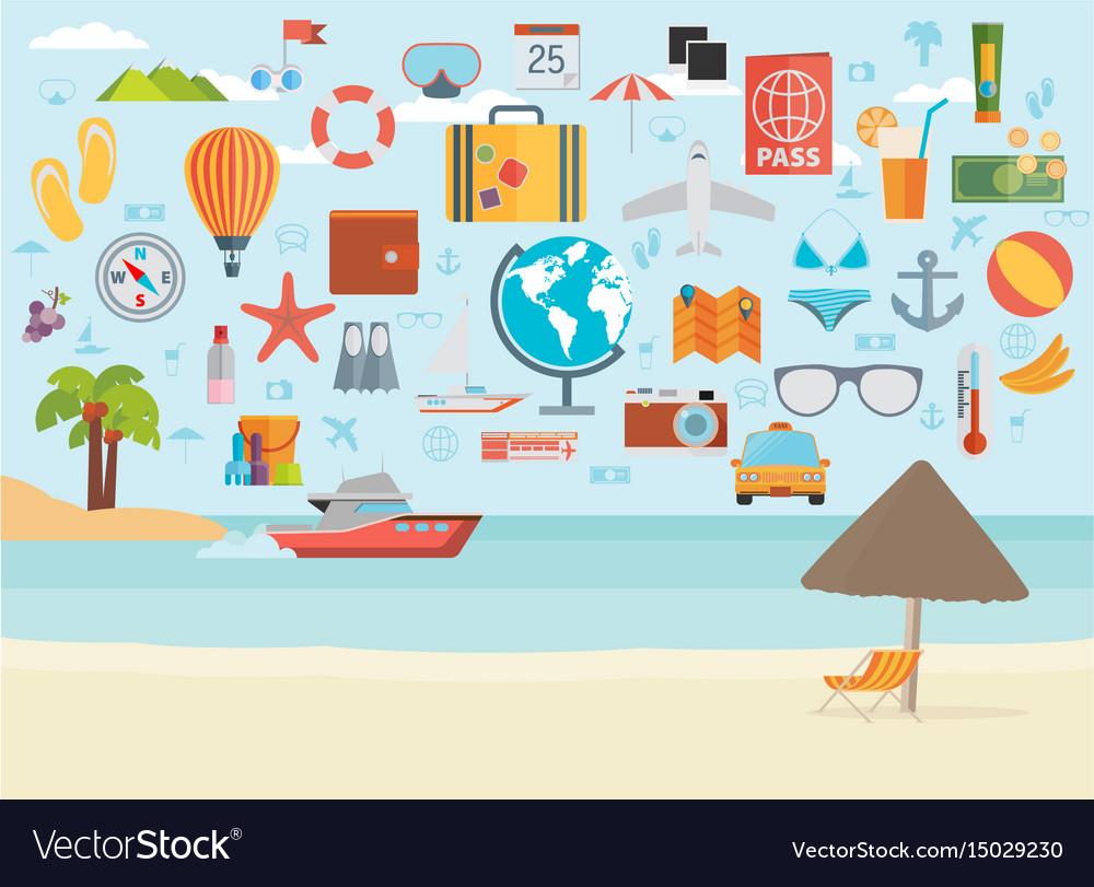 Travel vacation flat design set concept