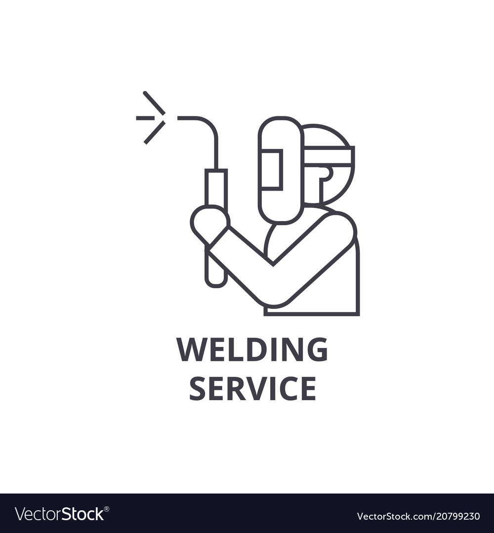 Welding service line icon sign