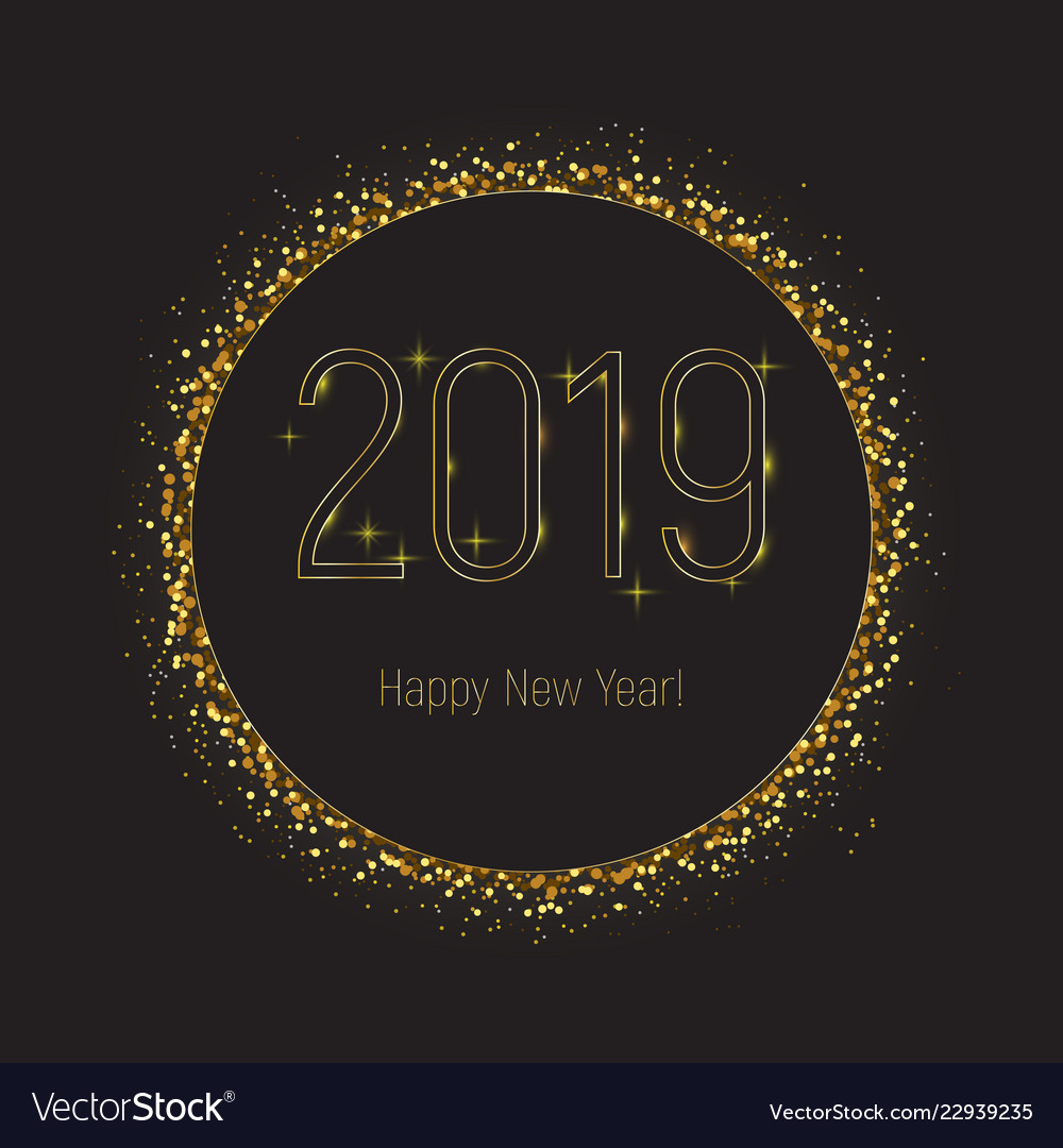 Black circle with gold glitter 2019 new year