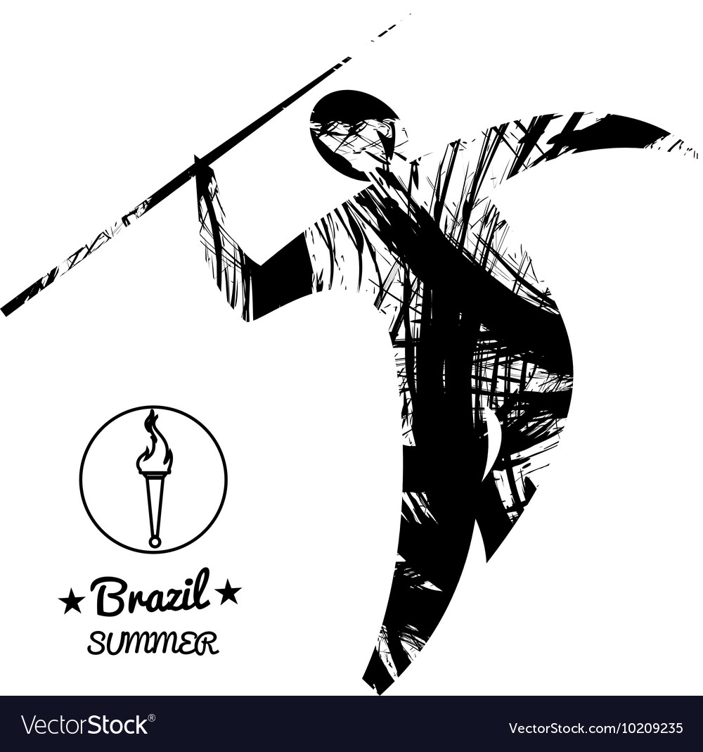 Brazil summer sport card with an abstract spear th vector image