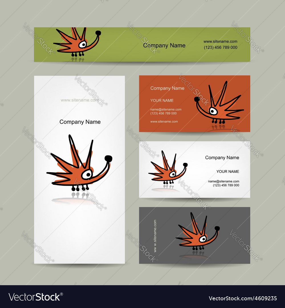 Business cards design with funny hedgehog Vector Image