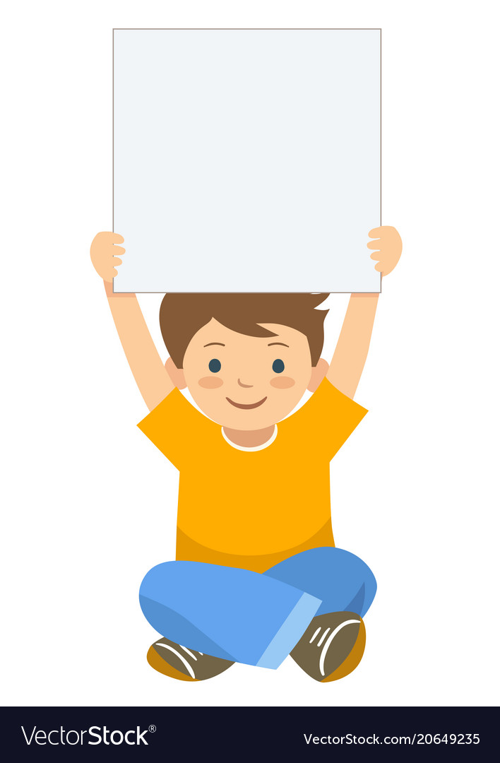 Cartoon boy holding up blank sign template vector image